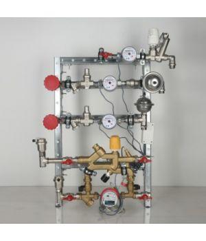 Квартирная станция для систем отопления и водоснабжения с рециркуляцией ГВС и перепускным клапаном